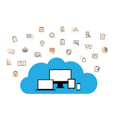 Cloud enabled equipment with internet business ico vector