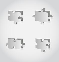 Cut out set puzzle pieces grey paper vector image