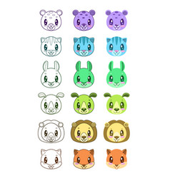 cute cartoon animal faces vector image vector image