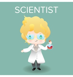Cute cartoon or mascot scientist for introducing vector