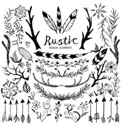 Design elements in rustic style vector image vector image