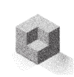 Dotwork halftone cube icon tattoo style vector