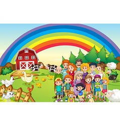 Family members living on the farm vector image vector image