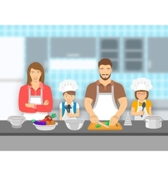 Family with kids cooking together at kitchen flat vector
