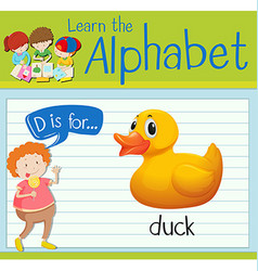 Flashcard letter d is for duck vector