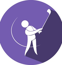 Golf icon on round badge vector image