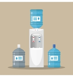 Gray water cooler with blue bottle vector image