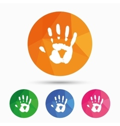 Hand print sign icon Stop symbol vector image vector image
