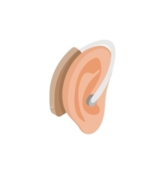 Hearing aid on an ear icon isometric 3d style vector