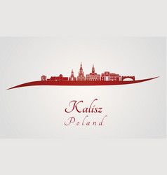 Kalisz skyline in red vector