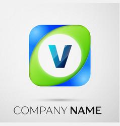 Letter v logo symbol in the colorful square vector