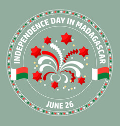 madagascar independence day label vector image