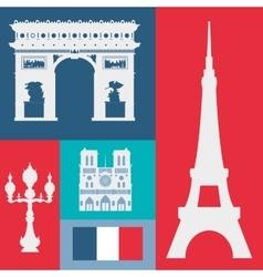 Paris landmarks design vector