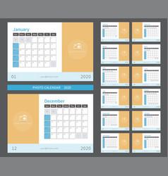 Photo calendar 2020 ready to print vector