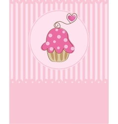 Piece of cake cupcake vector image vector image