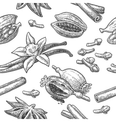 Seamless pattern set of spices vector image vector image