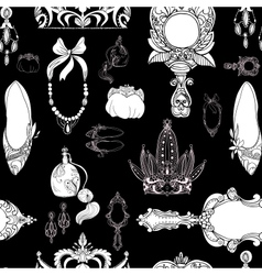 Seamless princess accessories on black vector image vector image