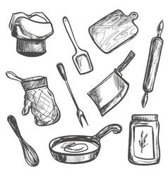 Set of hand drawn kitchen objects vector image