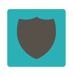 Shield flat grey and cyan colors rounded button vector