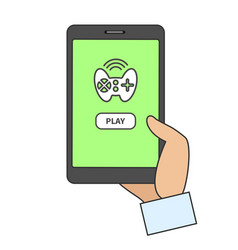 Smart phone with online game app vector
