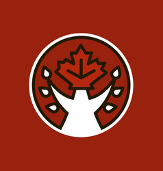 tree and canadian maple leaf logo icon vector image