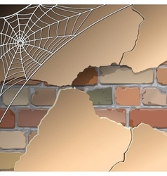 Wall with cobwebs vector
