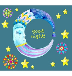 Watercolor Moon for children design vector image vector image