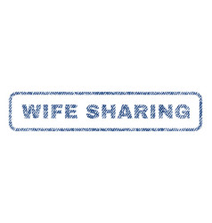 Wife sharing textile stamp vector
