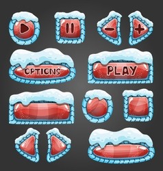 Winter cartoon red buttons with snow vector