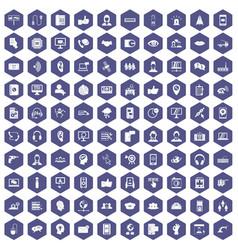 100 call center icons hexagon purple vector