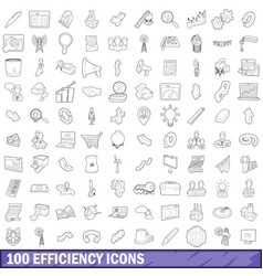 100 efficiency icons set outline style vector