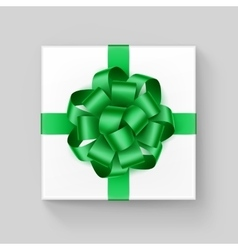 White square gift box with shiny green ribbon bow vector
