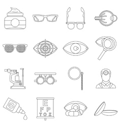 Ophthalmologist tools icons set outline style vector