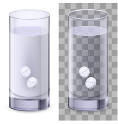 Real glass and pills on white for design vector