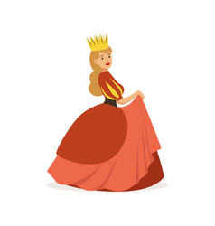 Beautiful majestic queen or princess in red dress vector