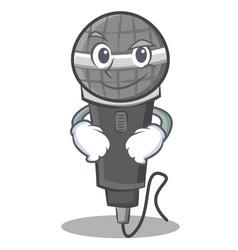 Smirking microphone cartoon character design vector
