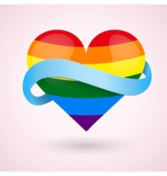 Lgbt background rainbow heart and ribbon vector