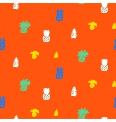Tropical ditsy pattern with fruits and leafs vector