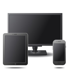 Set of electronic devices with black blank screens vector