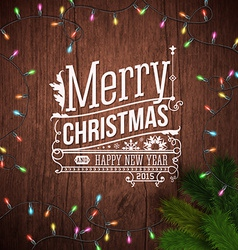 Christmas card with typography design wooden vector