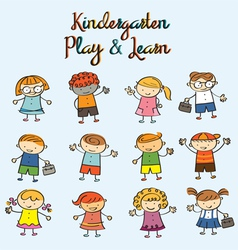 Kindergarten kids characters set vector