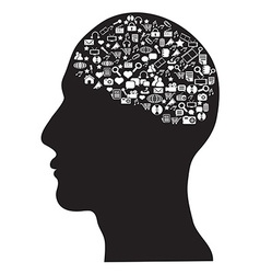 human brain with social media icons set vector image