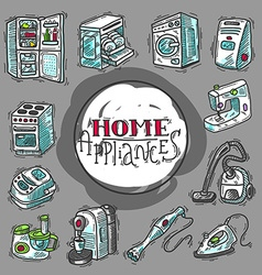 Beautiful hand drawn doodle icon set home appliahc vector