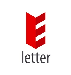 Red abstract logo letter e vector