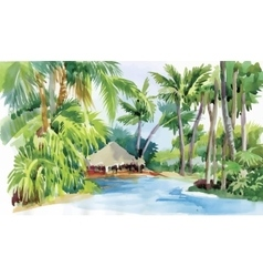 Tropical watercolor beach with palm trees and hut vector