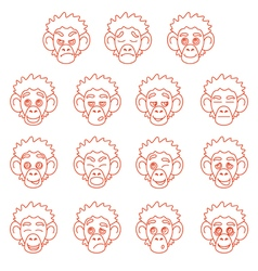 Contour monkey face expressions vector