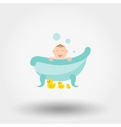 Baby in the bath with ducks vector