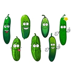 Cartoon ripe green organic cucumber vegetables vector