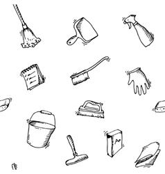 Seamless doodle pattern of house cleaning icons vector