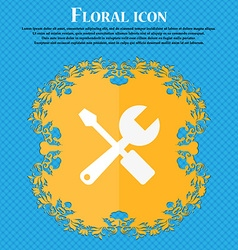 Wrench and screwdriver icon floral flat design on vector